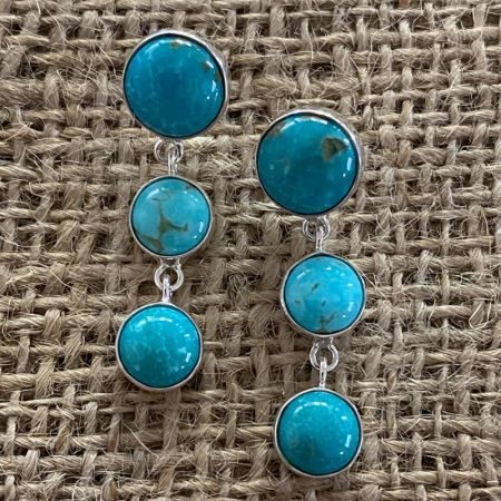 Sonoran Blue Turquoise Trio Earrings