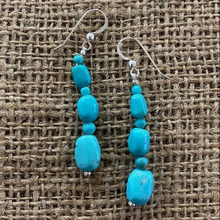 Turquoise Nugget Dangle Earrings