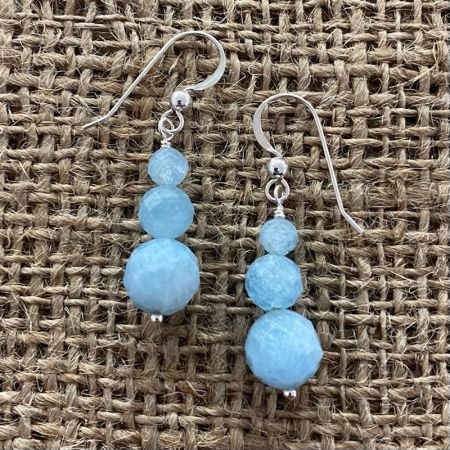 Aquamarine Beaded Dangle Earrings