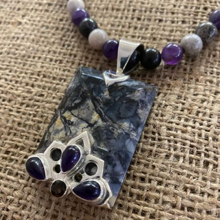 Dendritic Sage Agate, Amethyst & Smoky Quartz Pendant and Necklace Set