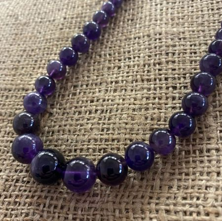 Graduated Amethyst Rounds Necklace