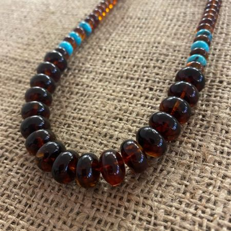 Amber and Blue Turquoise Necklace