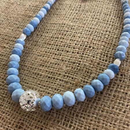 Blue Opal and Sterling Silver Bead Necklace
