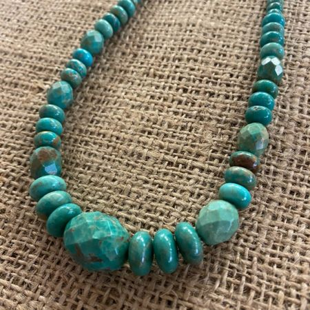 Faceted Blue Green Turquoise Medley Necklace