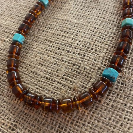 Amber and Turquoise Hexagon Necklace