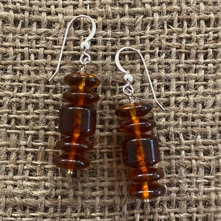 Amber Wheel Dangle Earrings