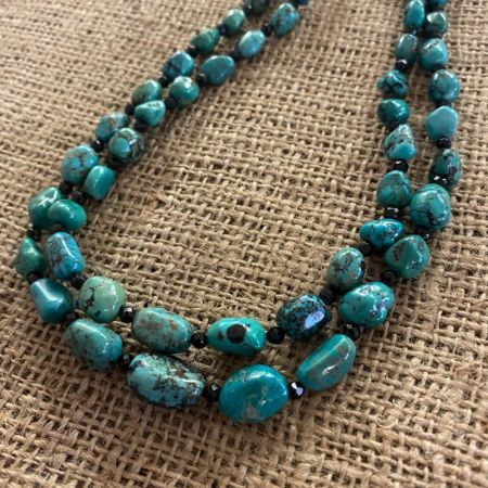 Hubei Turquoise and Black Spinel Double Strand Necklace