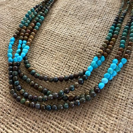 Four Strand Color Block Turquoise Necklace