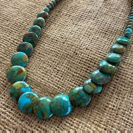 Turquoise Lentil Bead Necklace
