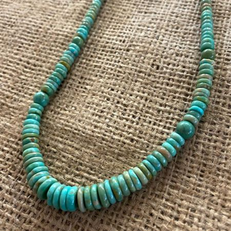 Green Turquoise Disc Necklace