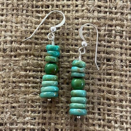 Green Turquoise Disc Earrings