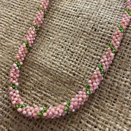 Rhodocrosite and Chrome Diopside Woven Necklace