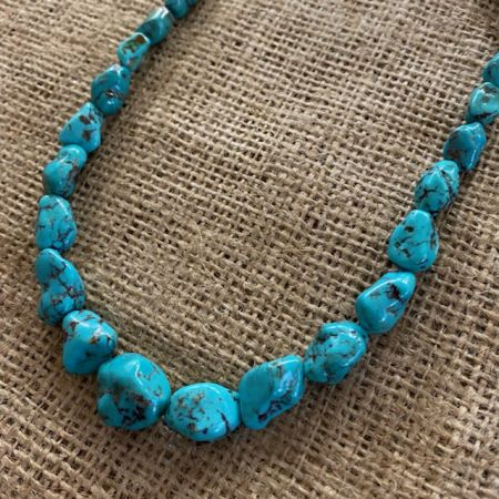 Turquoise with Black Matrix Nugget Necklace