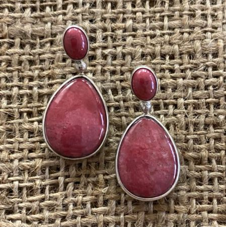 Thulite and Royal Blue Turquoise Reversible Earrings