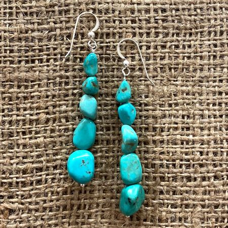 Chilean Turquoise Nugget Earrings