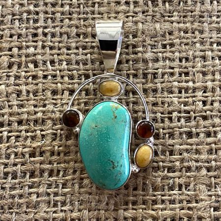 Turquoise Hill and Amber Pendant