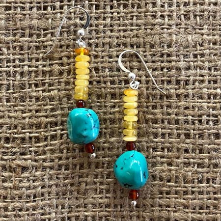Butterscotch Amber and Turquoise Dangle Earrings