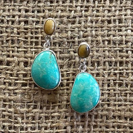 Turquoise Hill and Butterscotch Amber Post Earrings