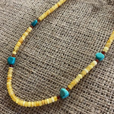 Turquoise Hill and Amber Necklace