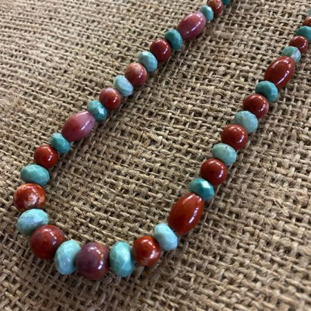 Red Moss Jasper and Chrome Chalcedony Necklace