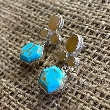Gold Matrix Turquoise and Mexican Opal Earrings