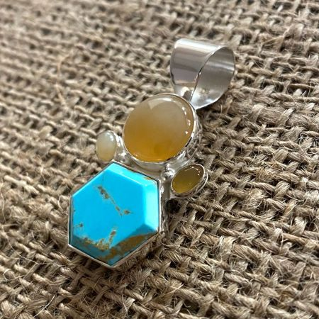 Golden Matrix Turquoise and Mexican Opal Pendant