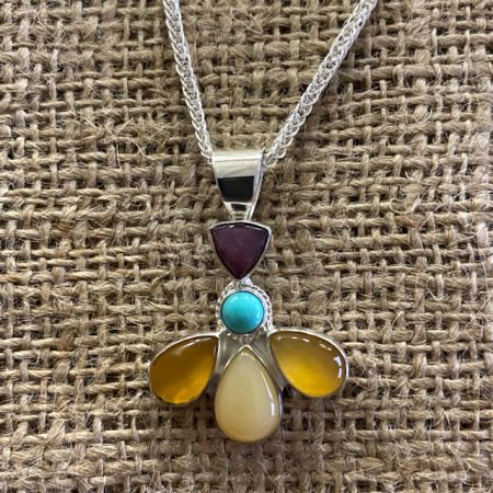 Multi Stone Flower Pendant & Chain
