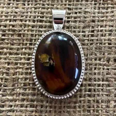 Framed Indonesian Amber Oval Pendant