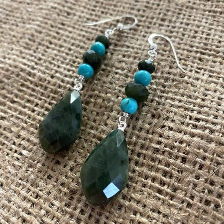 Nephrite Jade and Azure Peaks Turquoise Earrings