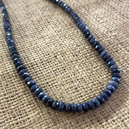 Faceted Blue Ethiopian Sapphire Necklace