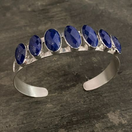 Faceted Lapis Cuff