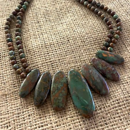 Two Strand Green Colorful Forest Necklace