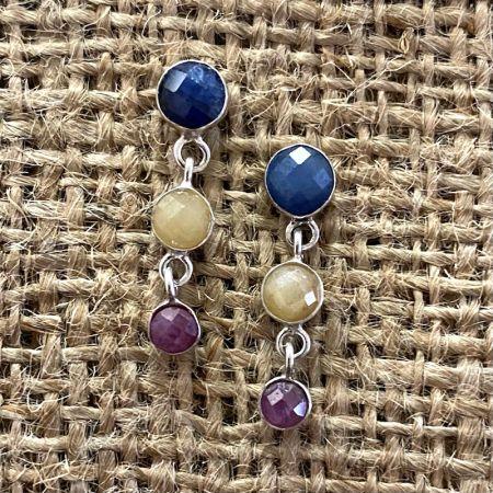 Multi Sapphire Post Earrings