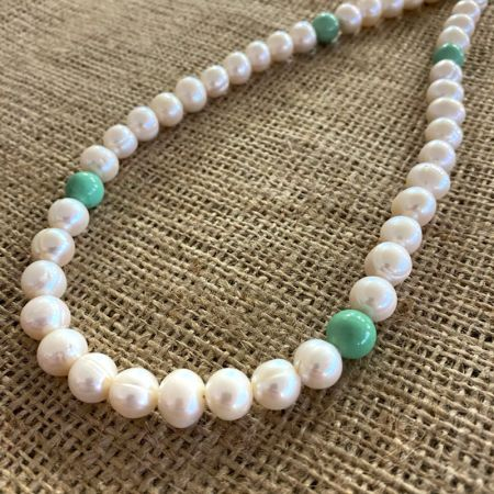 White Pearl and Variscite Rope Necklace