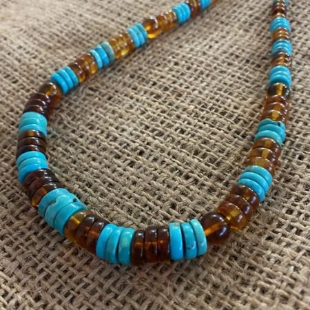 Blue Turquoise and Amber Necklace