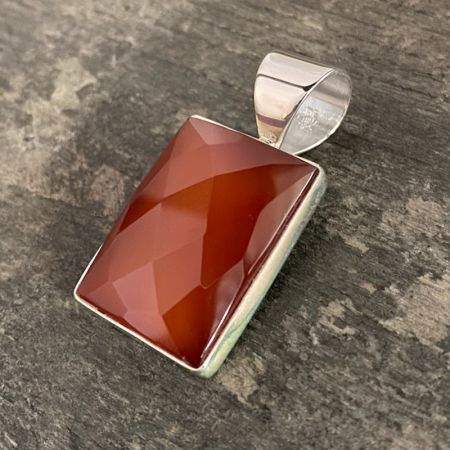 Faceted Carnelian Rectangular Pendant