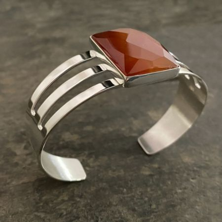 Faceted Carnelian Rectangular Cuff