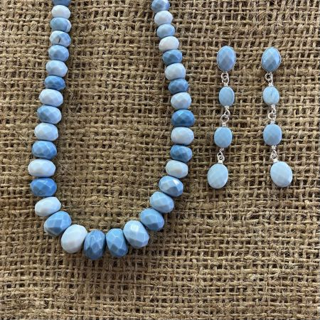 Faceted Blue Opal Necklace and Earrings