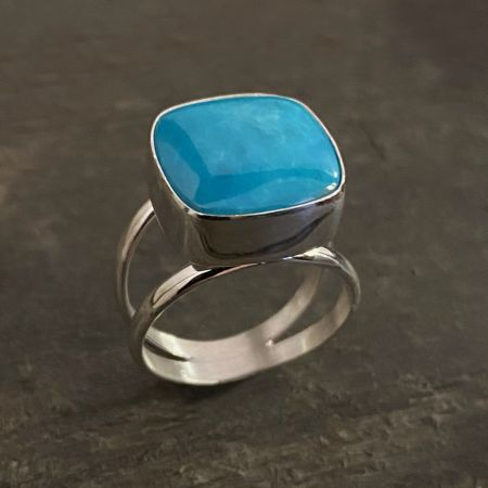 Square Chilean Turquoise Ring