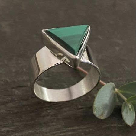 Malachite Triangle Ring - Size 6