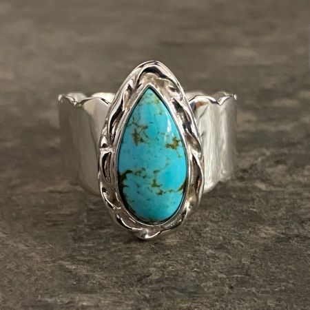 Turquoise Tear Drop Ring - Size 9