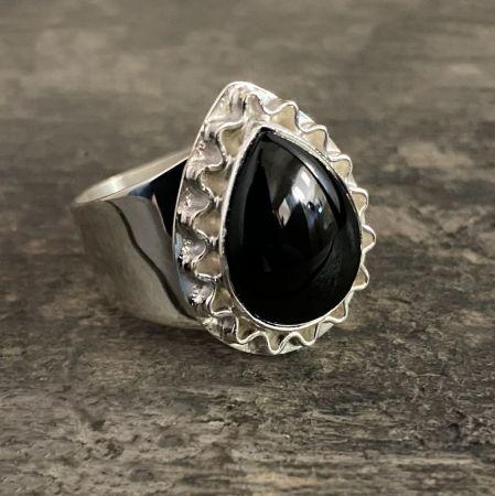 Black Agate Tear Drop Sun Ring - Size 11