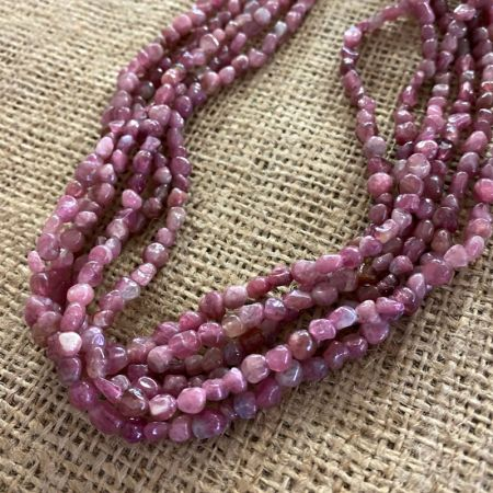 Pink Tourmaline Multi Strand Necklace