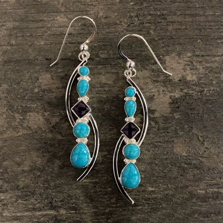 Sonoran Blue Turquoise and Amethyst Earrings