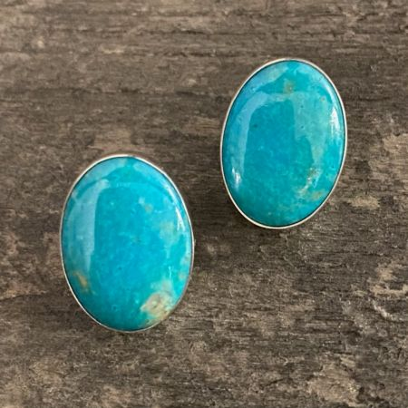 Anhui Turquoise Oval Post Earrings