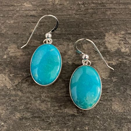 Anhui Turquoise Oval Dangle Earrings