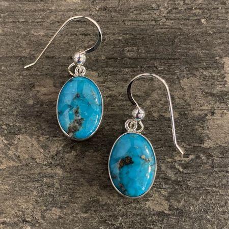 Kingman Turquoise Oval Dangle Earrings
