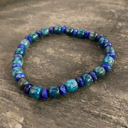 Indigo Blue Apatite and Lapis Stretch Bracelet