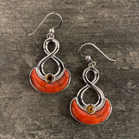 Orange Coral and Citrine Earrings