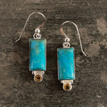 Anhui Turquoise and Citrine Earrings